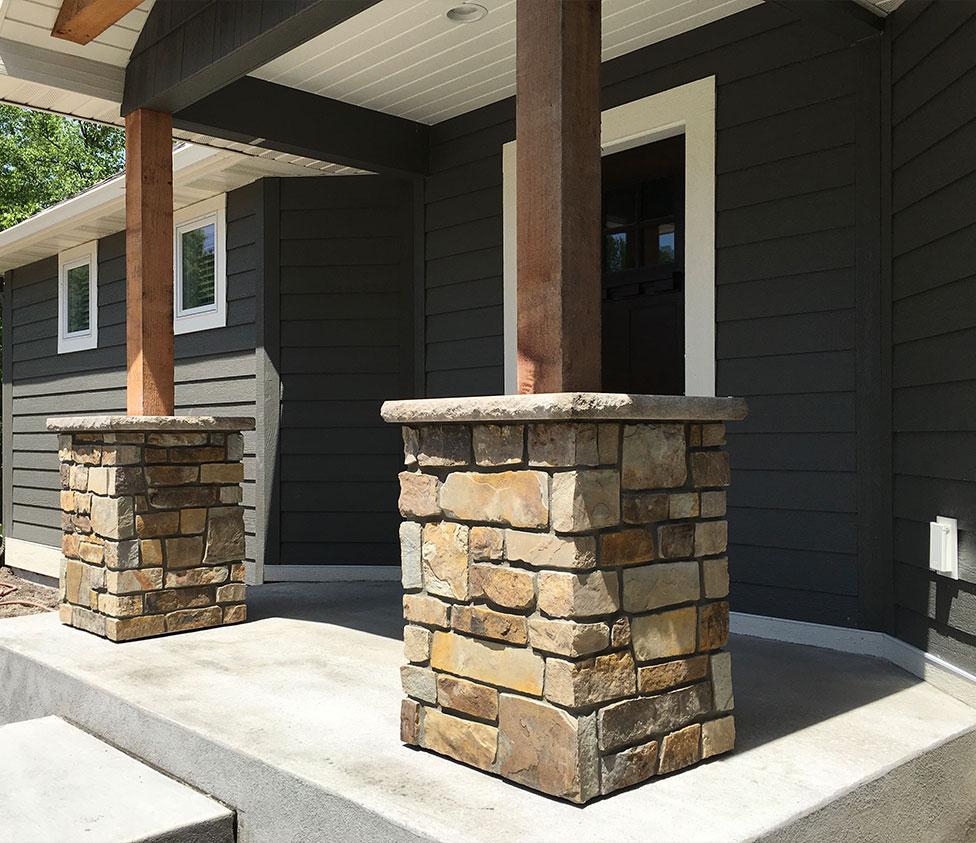 Natural Stone Pillars Caps : Sherman masonry exterior